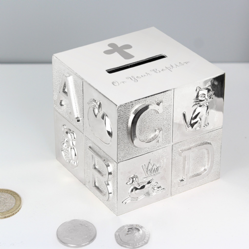 Silver Baptism ABC Money Box Gift for Baptism Baby Gift